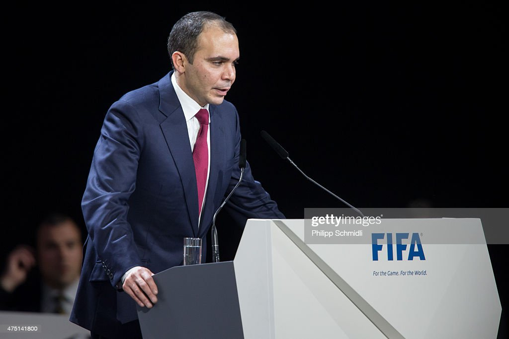 Jordanian Prince Ali bin al Hussein announces his withdrawal as FIFA presidential candidate during the 65th FIFA Congress at Hallenstadion on May 29...
