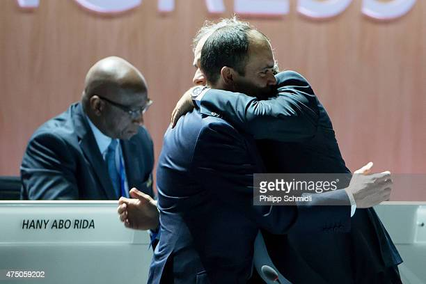 Jordanian Prince Ali bin al Hussein FIFA vice president and Challenger to Joseph S Blatter for the FIFA presidency embraces UEFA president Michel...