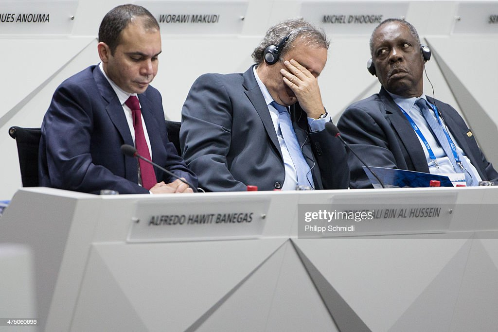 Jordanian Prince Ali bin al Hussein FIFA vice president and Challenger to Joseph S Blatter for the FIFA presidency UEFA president Michel Platini and...