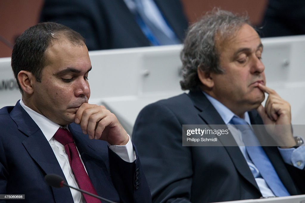 Jordanian Prince Ali bin al Hussein FIFA vice president and Challenger to Joseph S Blatter for the FIFA presidency and UEFA president Michel Platini...