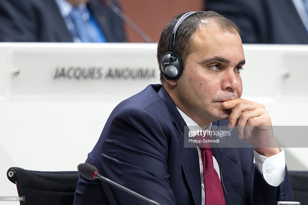 Jordanian Prince Ali bin al Hussein FIFA vice president and Challenger to Joseph S Blatter for the FIFA presidency looks on during the 65th FIFA...