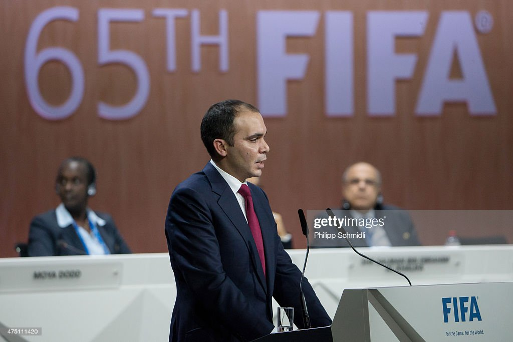 Jordanian Prince Ali bin al Hussein FIFA vice president and Challenger to Joseph S Blatter for the FIFA presidency gives a speech during the 65th...