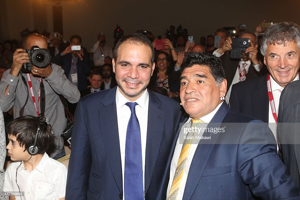 Jordanian Prince Ali Bin Al Hussein welcomes football legend Diego Armando Maradona as he shares his experience during the session' El Diego An...