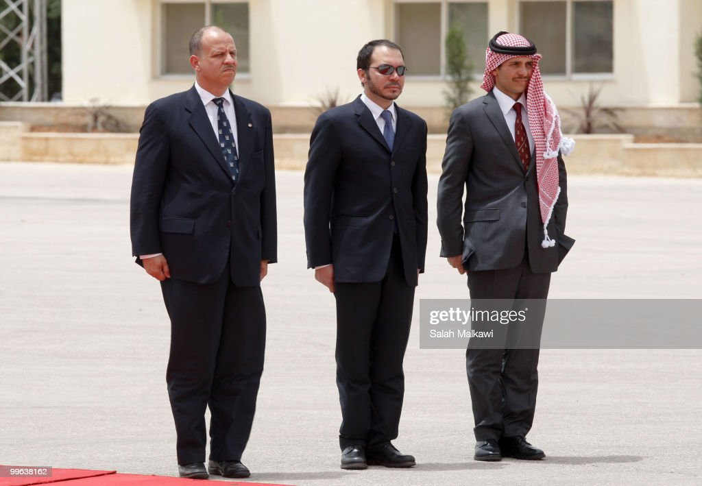 Jordanian Princes Faisal Bin al-Hussein, Ali Bin al-Hussein and Hamzah Bin al-Hussein await Emir of Kuwait Sheikh Sabah Al-Ahmad Al-Jaber Al-Sabah at Amman airport on May 17, 2010 in Amman, Jordan. The ruler of Kuwait is on a two-day state visit, the first such visit by a Kuwaiti head of state in 20 years, asn is expected to discuss the US-brokered indirect peace talks between Israel and the Palestinians.