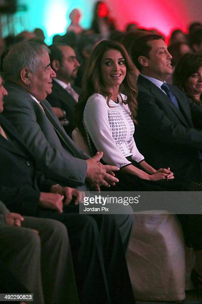 Jordanian Queen Rania Al Abdullah helps launch Edraak the first Arab nonprofit platform for Massive Open Online Courses May 19 2014 in Amman Jordan