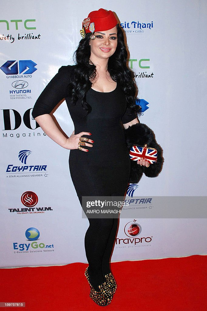 Jordanian singer Diana Curzon poses on the red carpet upon her arrival for the Dear Guest (DG) Egyptian English magazine's yearly event on January 19, 2013 in Cairo.