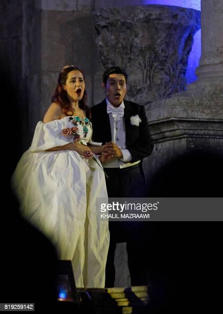 Jordanian soprano Zeina Barhoum as Violetta Valery and Peruvian tenor Andres Veramendi as Alfredo Germont perform Giuseppe Verdi's La Traviata...