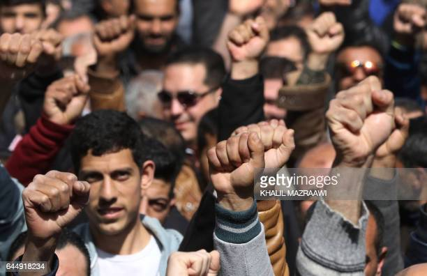 Jordanians take part in a protest after the Friday prayer in the capital Amman on February 24 2017 against the government's decision to impose new...