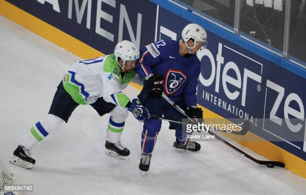 Jordann Perret of France during the 2017 IIHF Ice Hockey World Championship game between France and Slovenia at AccorHotels Arena on May 15 2017 in...