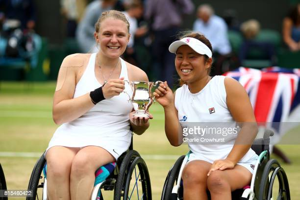 Jordanne Whiley of Great Britain and Yui Kamiji of Japan celebrate winning their Ladies' Wheelchair doubles final against Marjolein Buis and Diede De...