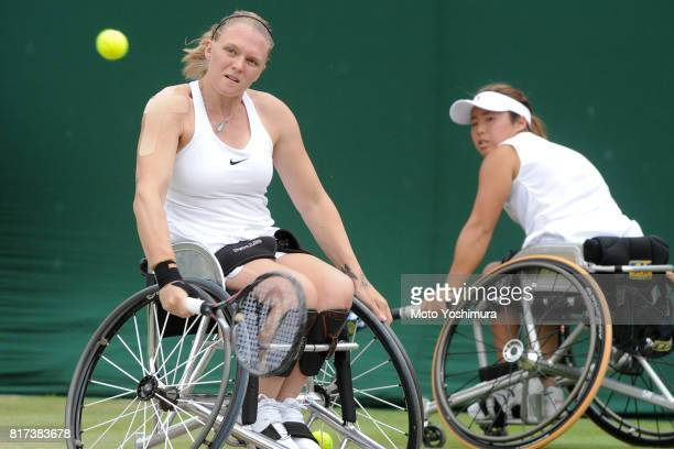 Jordanne Whiley of Great Britain and Yui Kamiji of Japan in action during the Ladies' Wheelchair doubles final against Marjolein Buis and Diede De...
