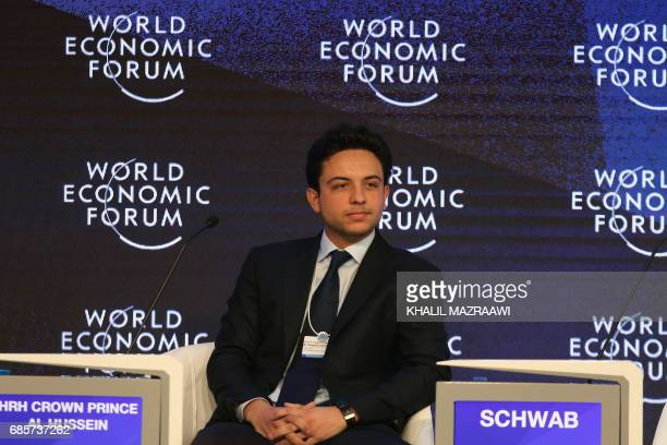 Jordan's Crown Prince Hussein the son of King Abdullah II attends the opening session of the World Economic Forum held in the Dead Sea resort of...