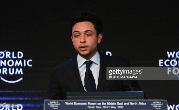 Jordan's Crown Prince Hussein the son of King Abdullah II speaks on the stage during the opening session of the World Economic Forum held in the Dead...