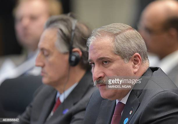 Jordan's Foreign Minister Nasser Judeh takes part in the closing session of the White House Summit to Counter Violent Extremism at the State...