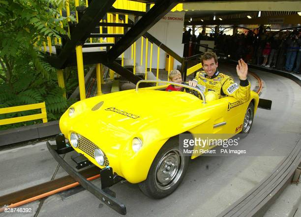 Jordan's Formula One driver Ralph Firman opens the new Grand Prix ride at Blackpool Pleasure Beach with Morgan Thompson