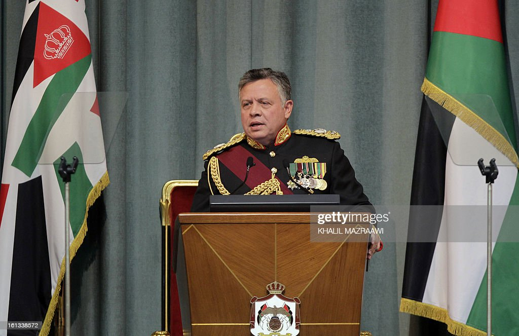 Jordan's King Abdullah II addresses the opening of the Jordanian Parliament in the capital Amman on February 10, 2013. King Abdullah told newly elected members of parliament that he seeks to reach 'consensus' with them before naming a prime minister, and hailed the 'historic transformation' towards parliamentary government in Jordan. AFP PHOTO / KHALIL MAZRAAWI