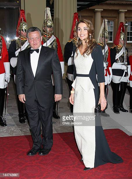 Jordan's King Abdullah II and Queen Rania of Jordan attends a dinner for foreign Sovereigns to commemorate the Diamond Jubilee at Buckingham Palace...