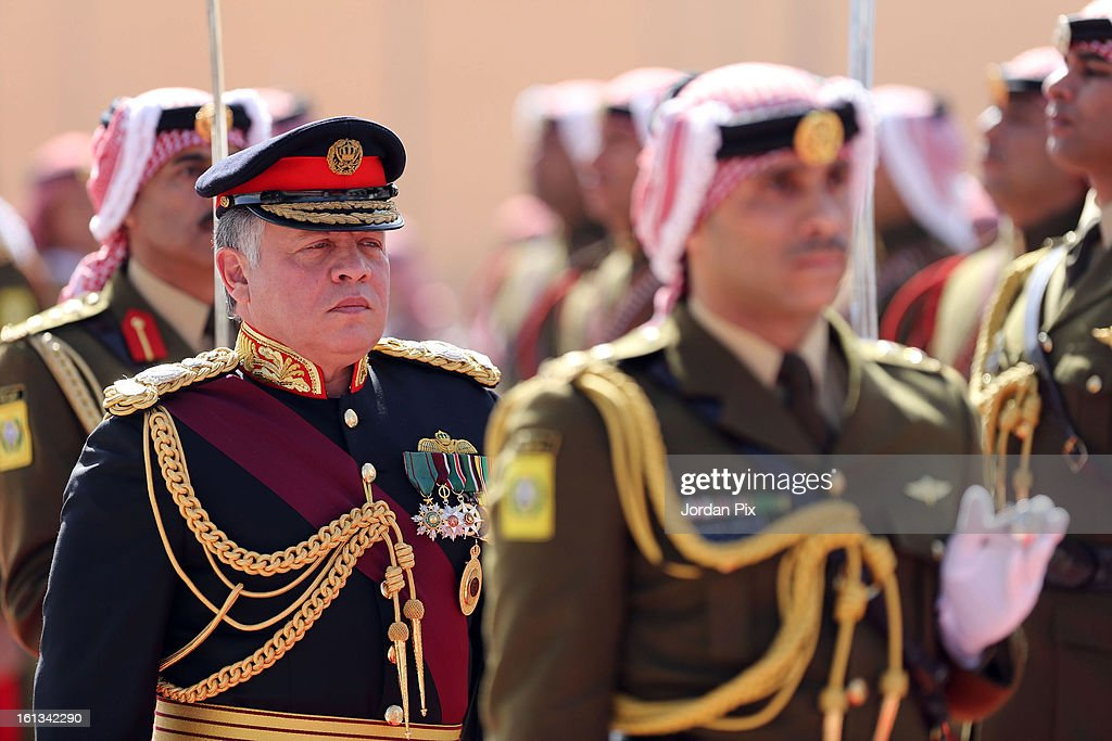 Jordan's King Abdullah II attends a ceremony as he inaugurates the newly elected parliament on February 10, 2013 in Amman, Jordan. The King addressed the parliament with a pledge to move forward with democratization, adding that he will help choose the next prime minister.