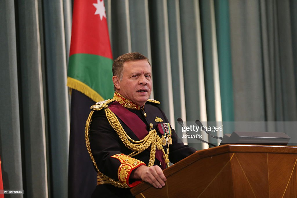 Jordan's King Abdullah II attends the State opening of the Parliament on November 7, 2016, in Amman, Jordan. King Abdullah addressed the recently elected 18th Jordanian Lower House of Parliament with the appointed Higher House of the Senate with the attendence of royal family members and the government.