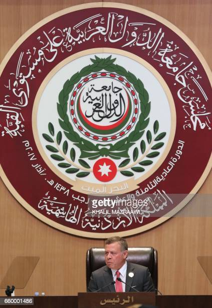 Jordan's King Abdullah II attends the talks of the Arab League summit in the Jordanian Dead Sea resort of Sweimeh on March 29 2017 Arab leaders are...