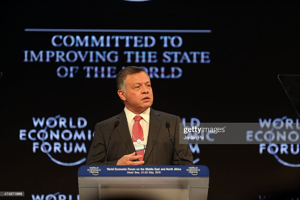Jordan's King <a gi-track='captionPersonalityLinkClicked' href=/galleries/search?phrase=Abdullah+II&family=editorial&specificpeople=171586 ng-click='$event.stopPropagation()'>Abdullah II</a> Ibn Al Hussein addresses the audience at the opening of the World Economic Forum on the Middle East and North Africa on May 22, 2015 at the Dead Sea, Jordan.