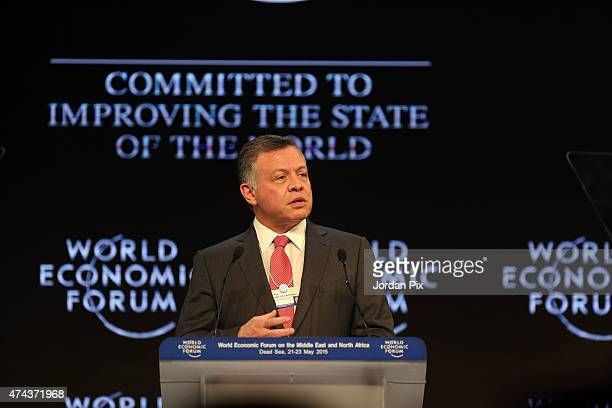 Jordan's King Abdullah II Ibn Al Hussein addresses the audience at the opening of the World Economic Forum on the Middle East and North Africa on May...