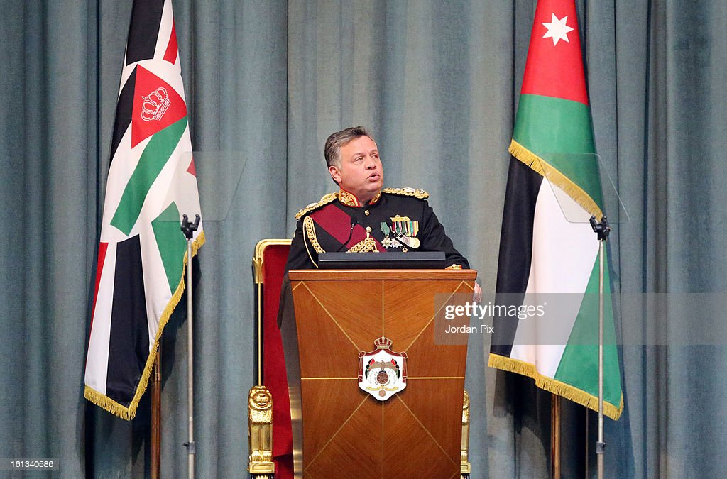 Jordan's King <a gi-track='captionPersonalityLinkClicked' href=/galleries/search?phrase=Abdullah+II&family=editorial&specificpeople=171586 ng-click='$event.stopPropagation()'>Abdullah II</a> inaugurates the newly elected parliament on February 10, 2013 in Amman, Jordan. The King addressed the parliament with a pledge to move forward with democratization, adding that he will help choose the next prime minister.