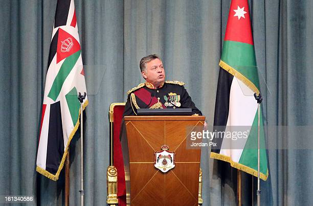 Jordan's King Abdullah II inaugurates the newly elected parliament on February 10 2013 in Amman Jordan The King addressed the parliament with a...