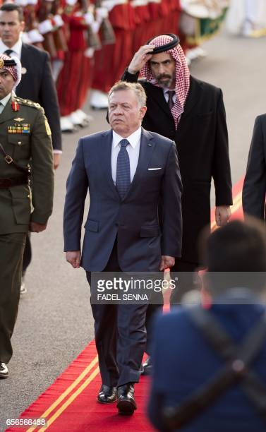 Jordan's King Abdullah II is seen as he arrives for a welcome ceremony at the Royal Palace in Rabat on March 22 2017 / AFP PHOTO / FADEL SENNA