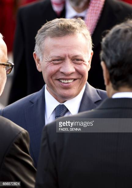 Jordan's King Abdullah II is seen during a welcome ceremony at the Royal Palace in Rabat on March 22 2017 / AFP PHOTO / FADEL SENNA