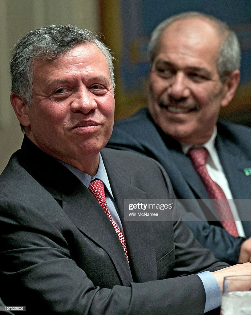 Jordan's King Abdullah meets with members of the Senate Appropriations Committee at the U.S. Capitol April 24, 2013 in Washington, DC. Abdullah is scheduled to meet with members of the Senate leadership later in the day.