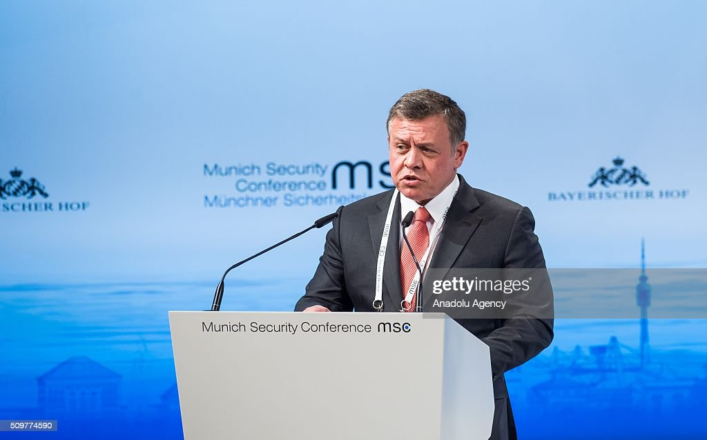 Jordan's King Abdullah speaks during the 52nd Security Conference in Munich, Germany on February 12, 2016. The conference on security policy takes place from Feb. 12, 2016 until Feb. 14, 2016.