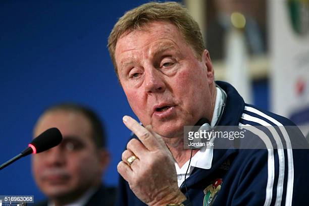 Jordan's latest manager Harry Redknapp speaks during a joint press conference with the president of the Jordan Football Association Prince Ali Bin Al...