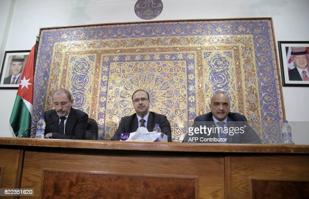 Jordan's Minister of State for Legal Affairs Bisher Khasawneh Minister of State for Media Affairs Mohammad alMomani and Foreign Minister Ayman...