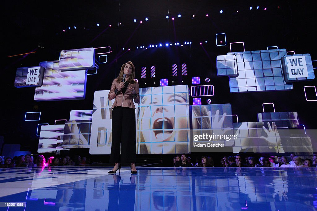 Jordan's Queen Noor speaks during the We Day Minnesota event at the Xcel Energy Center in St. Paul, Minnesota on October 8, 2013