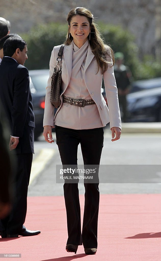 Jordan's Queen Rania arrives for the opening of the Jordanian parliament in Amman on February 10, 2013. King Abdullah II told newly elected members of parliament that he seeks to reach 'consensus' with them before naming a prime minister, and hailed the 'historic transformation' towards parliamentary government in Jordan.