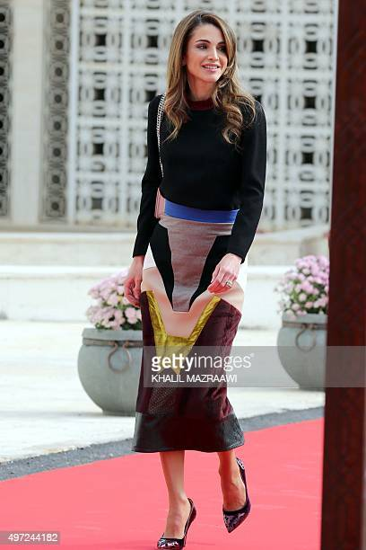 Jordan's Queen Rania arrives to attend the opening of the third regular session of the parliament in the capital Amman on November 15 2015 AFP PHOTO...