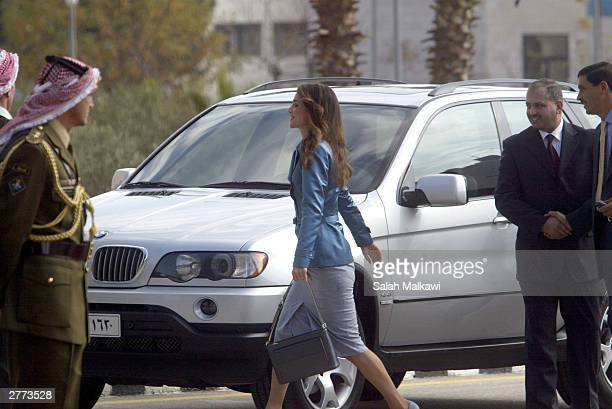 Jordan's Queen Rania attends the official opening of parliament December 1 2003 in Amman Jordan King Abdullah II met separately with Palestinian...