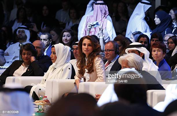 Jordan's Queen Rania attends the opening day of the Global Women's Forum on February 23 in Dubai / AFP / KARIM SAHIB