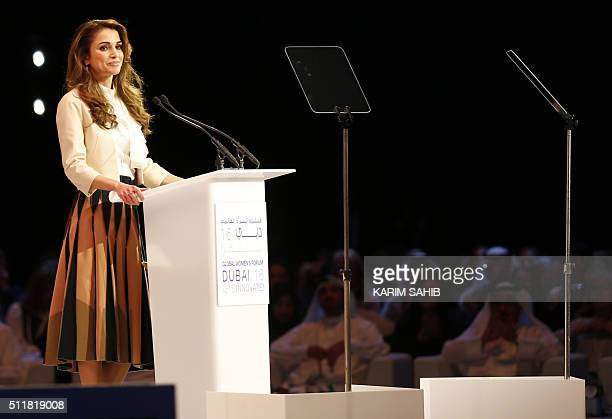 Jordan's Queen Rania delivers a speech during the opening day of the Global Women's Forum on February 23 in Dubai / AFP / KARIM SAHIB