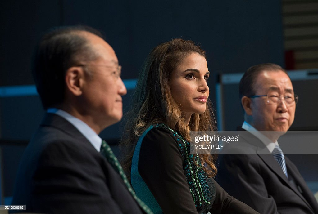 Jordan's Queen Rania listens next to World Bank Group President Jim Yong Kim and UN Secretary Ban Ki moon during a discussion on 'Forced Displacement...