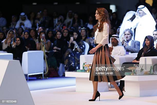 Jordan's Queen Rania prepares to deliver a speech during the opening day of the Global Women's Forum on February 23 in Dubai / AFP / KARIM SAHIB