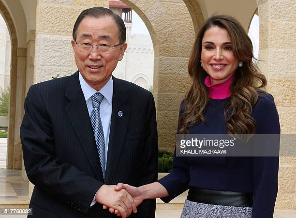 Jordan's Queen Rania shakes hands with United Nations Secretary General Ban KiMoon at the Royal Palace in Amman on March 27 2016 Ban is meeting wih...