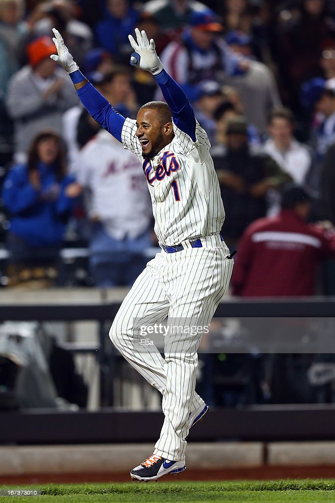 Jordany Valdespin #1 of the New York Mets celebrates his game winning grand slam in the 10th inning against the Los Angeles Dodgers on April 24, 2013 at Citi Field in the Flushing neighborhood of the Queens borough of New York City. The New York Mets defeated the Los Angeles Dodgers 7-3 in 10 innings.