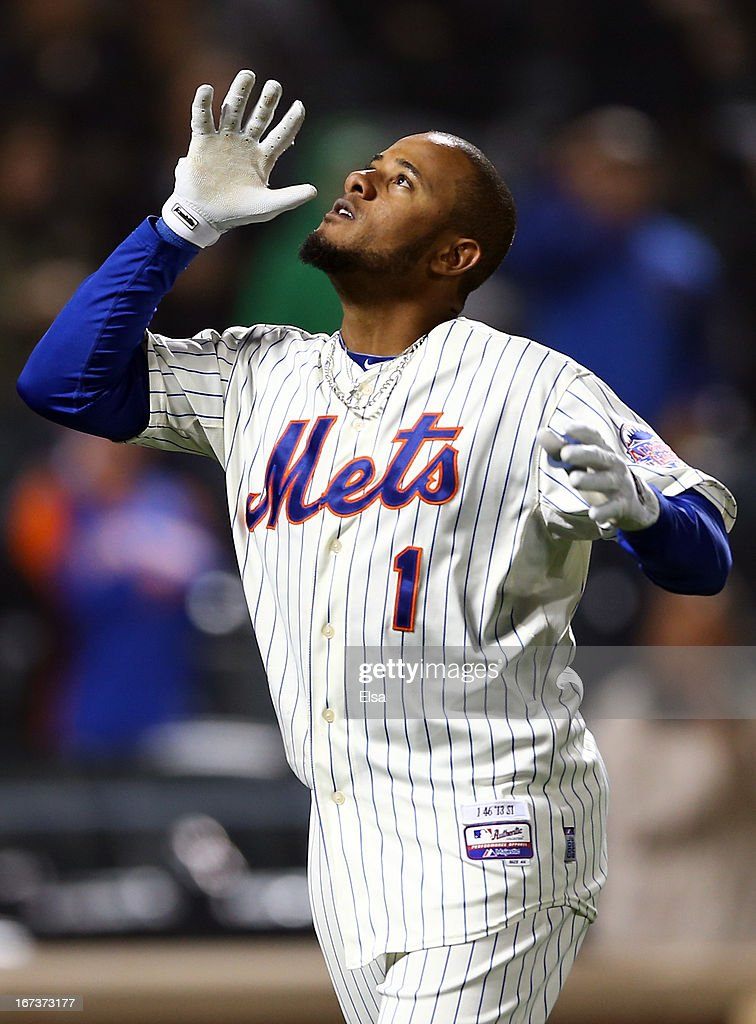 Jordany Valdespin #1 of the New York Mets celebrates his walk off grand slam in the bottom of the 10th inning on April 24, 2013 at Citi Field in the Flushing neighborhood of the Queens borough of New York City. The New York Mets defeated the Los Angeles Dodgers 7-3 in 10 innings.