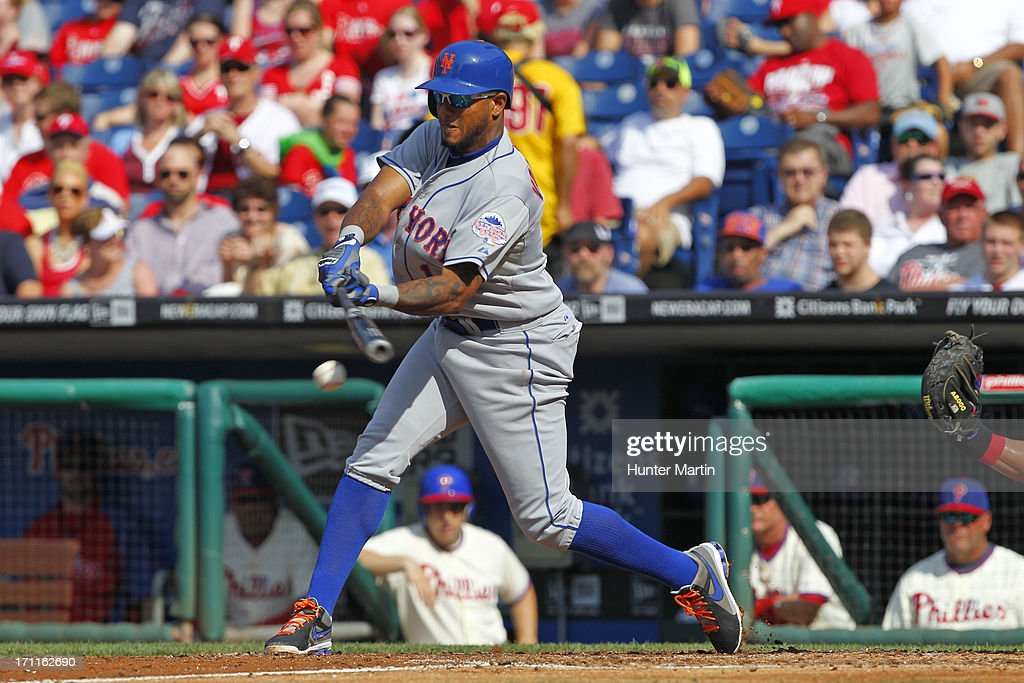Jordany Valdespin #1 of the New York Mets hits a fielder's choice RBI in the third inning during a game against the Philadelphia Phillies at Citizens Bank Park on June 22, 2013 in Philadelphia, Pennsylvania.