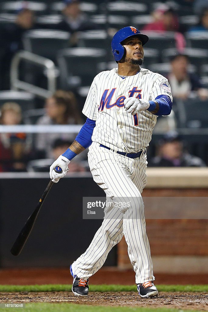 Jordany Valdespin #1 of the New York Mets watches his walk off grand slam in the bottom of the 10th inning on April 24, 2013 at Citi Field in the Flushing neighborhood of the Queens borough of New York City. The New York Mets defeated the Los Angeles Dodgers 7-3 in 10 innings.