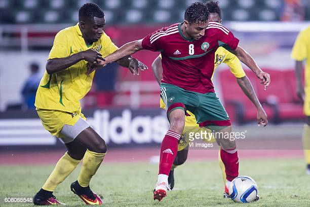 Jordao Encarnacao Tackey Diogo of Sao Tome e Principe Aziz Bouhaddouz of Morocco during the Africa Cup of Nations match between Morocco and Sao Tome...