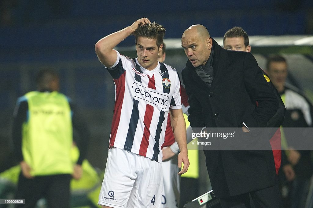 Jordens Peters of Willem II, coach Jurgen Streppel of Willem II during the Dutch Eredivisie match between Willem II and Heracles Almelo at the Koning Willem II Stadium on November 24, 2012 in Tilburg, The Netherlands.