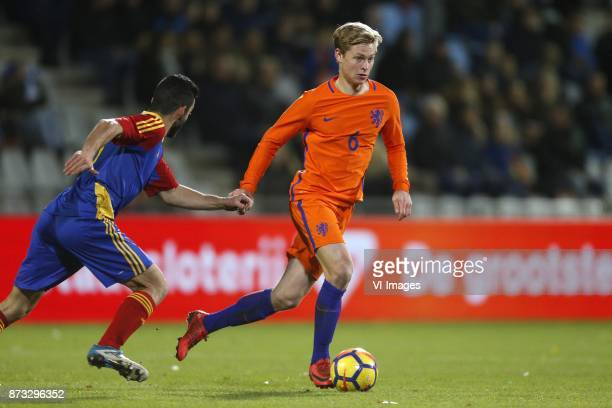 Jordi Alaez of Jong Andorra Frenkie de Jong of Jong Oranje during the EURO U21 2017 qualifying match between Netherlands U21 and Andorra U21 at the...